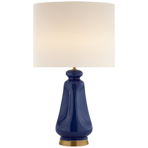 Kapila Table Lamp in Polar Blue Crackle with Linen Shade