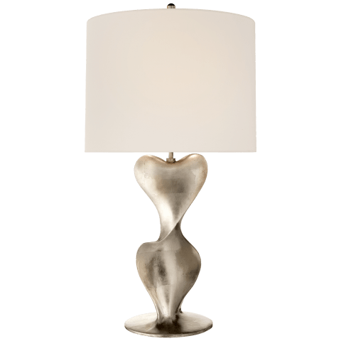 Clausis Large Table Lamp in Burnished Silver Leaf with Linen Shade