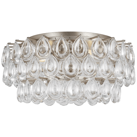 Liscia Medium Flush Mount in Burnished Silver Leaf with Crystal
