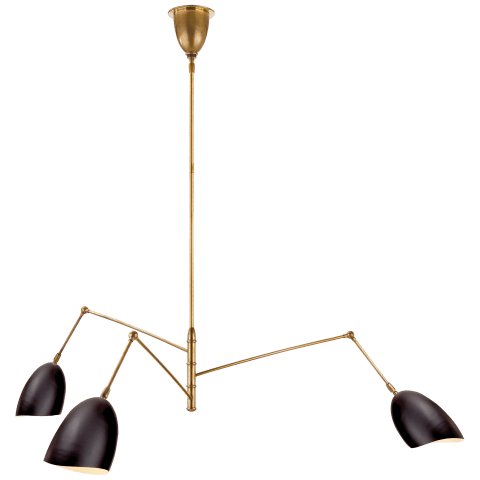 Sommerard Large Triple Arm Chandelier in Hand-Rubbed Antique Brass and Black