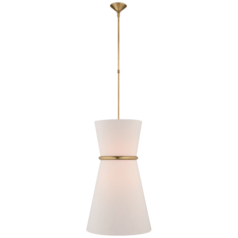 Clarkson Large Single Pendant in Hand-Rubbed Antique Brass with Linen Shade