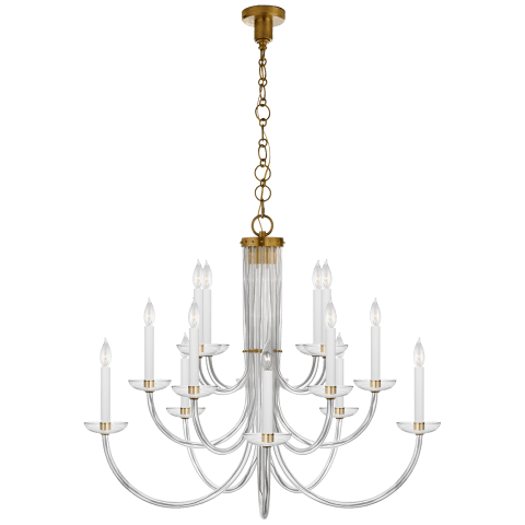 Wharton Chandelier in Clear Acrylic and Hand-Rubbed Antique Brass