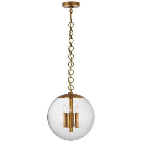 Turenne Medium Globe Pendant in Hand-Rubbed Antique Brass with Clear Glass