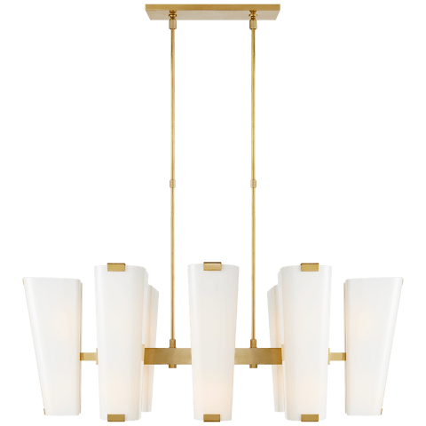 Alpine Medium Linear Chandelier in Hand-Rubbed Antique Brass with White Glass