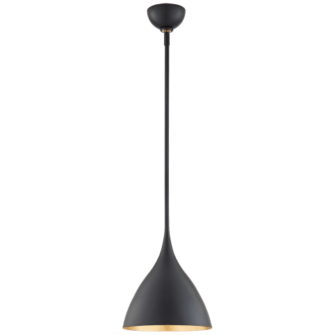 Agnes Small Pendant in Matte Black with Gild Interior