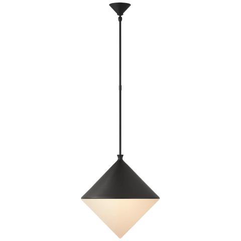 Sarnen Large Pendant in Matte Black with White Glass