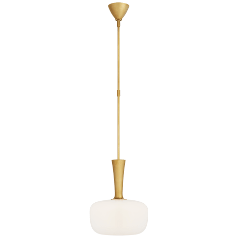 Sesia Small Oval Pendant in Hand-Rubbed Antique Brass with White Glass