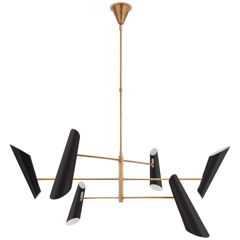 Franca Large Pivoting Chandelier in Hand-Rubbed Antique Brass with Black Shades
