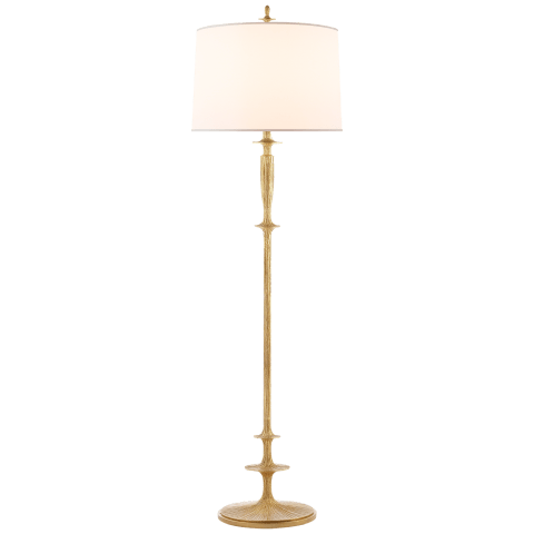 Lotus Floor Lamp in Gild with Silk Shade