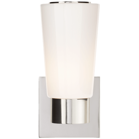 Acme Sconce in Soft Silver with White Glass