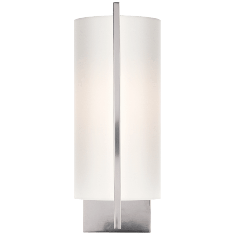Framework Sconce in Soft Silver with Silk Shade