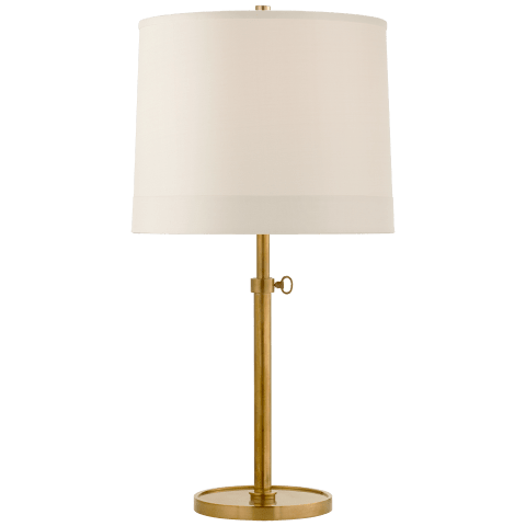 Simple Adjustable Table Lamp in Soft Brass with Silk Banded Shade