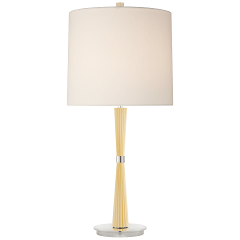 Refined Rib Medium Table Lamp in Ivory and Polished Nickel with Linen Shade
