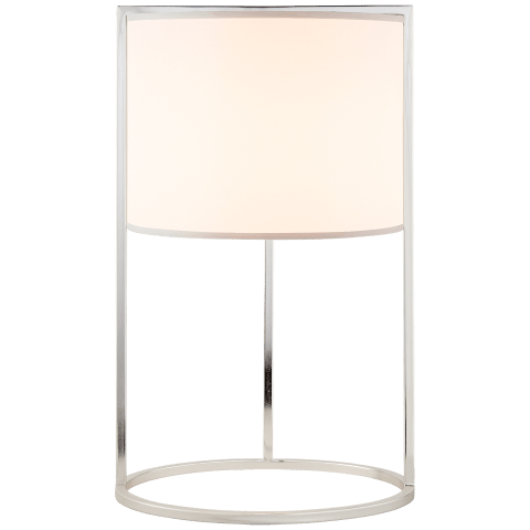 Framework Desk Lamp in Soft Silver with Silk Shade
