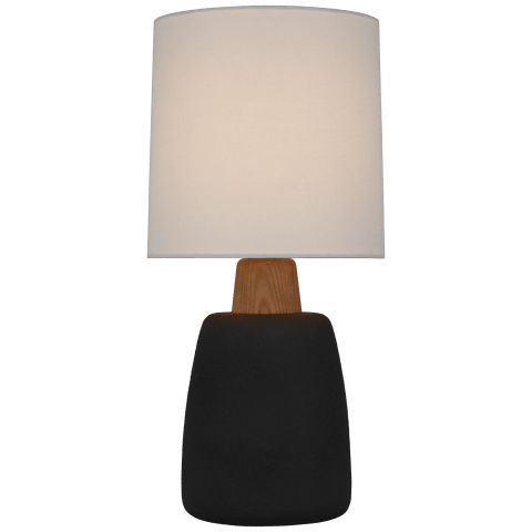 Aida Medium Table Lamp in Porous Black and Natural Oak with Linen Shade
