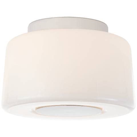 Acme Small Flush Mount in Polished Nickel with White Glass