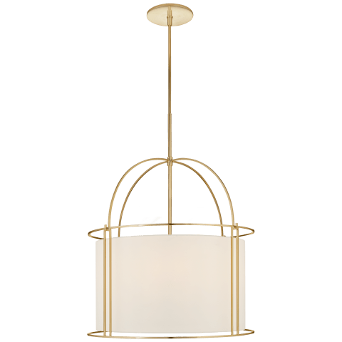 Capitol Wide Lantern in Soft Brass with Silk Shade