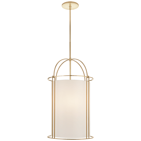 Capitol Narrow Lantern in Soft Brass with Silk Shade
