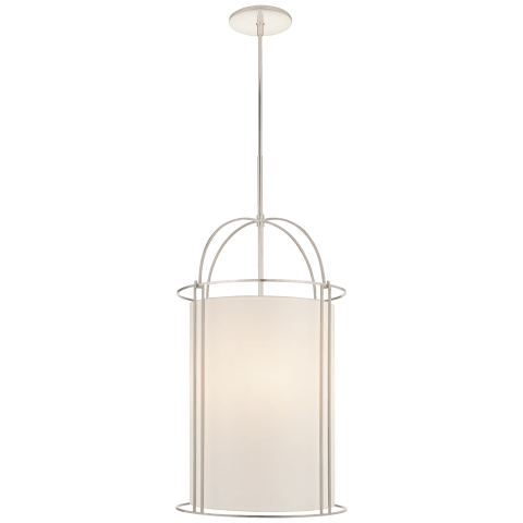 Capitol Narrow Lantern in Soft Silver with Silk Shade