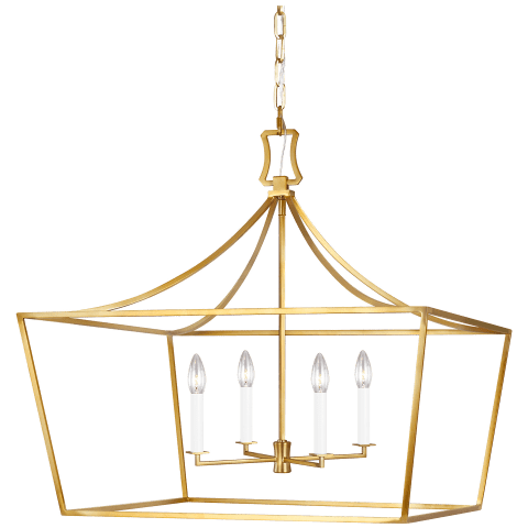Southold 4 - Light Wide Lantern Burnished Brass