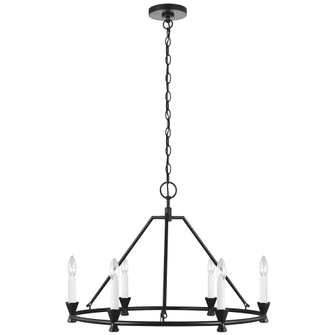 Keystone 6 - Light Small Chandelier Aged Iron