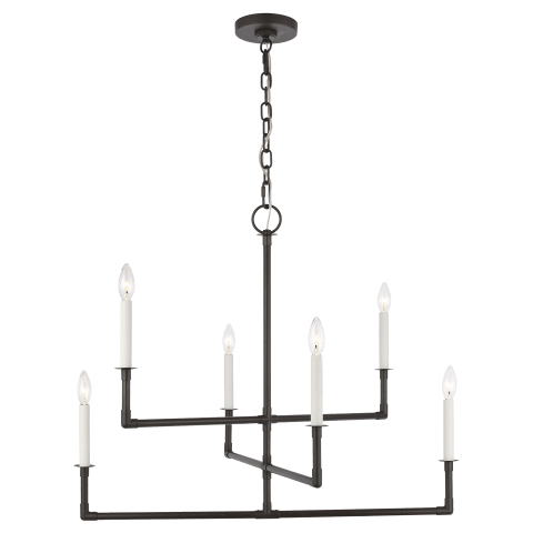 Bayview 6 - Light Chandelier Aged Iron