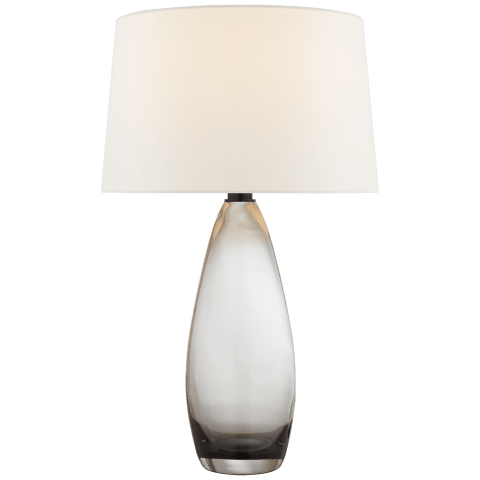 Myla Large Tall Table Lamp in Smoked Glass with Linen Shade