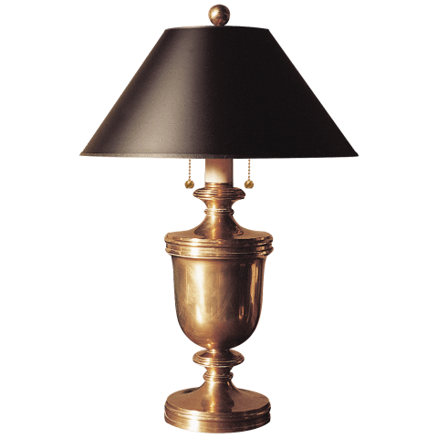 Classical Urn Form Medium Table Lamp in Antique-Burnished Brass with Black Shade