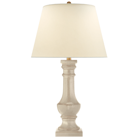 Round Balustrade Grande Table Lamp in Bone Craquelure with Natural Percale Shade