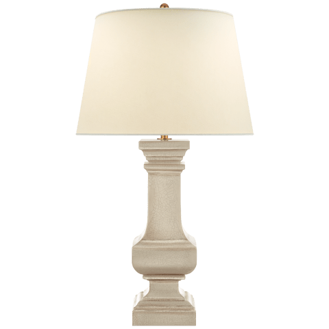 Square Balustrade Grande Table Lamp in Bone Craquelure with Natural Percale Shade