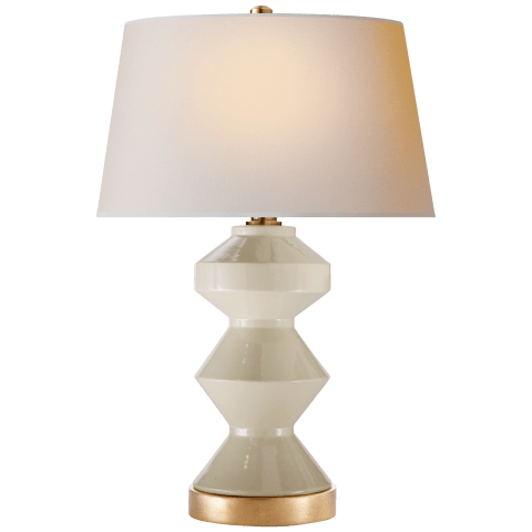 Weller Zig-Zag Table Lamp in Coconut with Natural Paper Shade