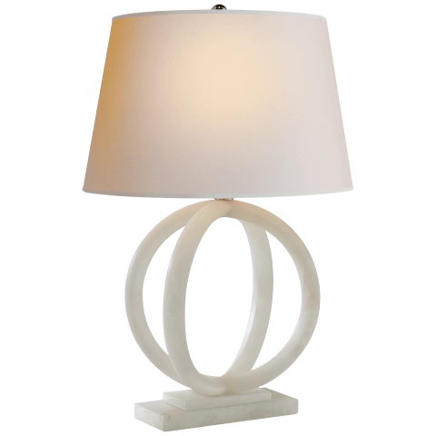 Quattro Table Lamp in Alabaster with Natural Paper Shade