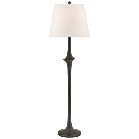 Bates Large Sculpted Floor Lamp in Aged Iron with Linen Shade