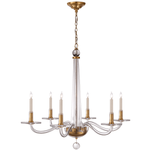 Robinson Medium Chandelier in Antique-Burnished Brass and Clear Glass