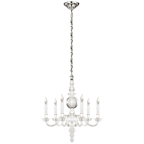 George II Small Chandelier in Crystal with Polished Nickel