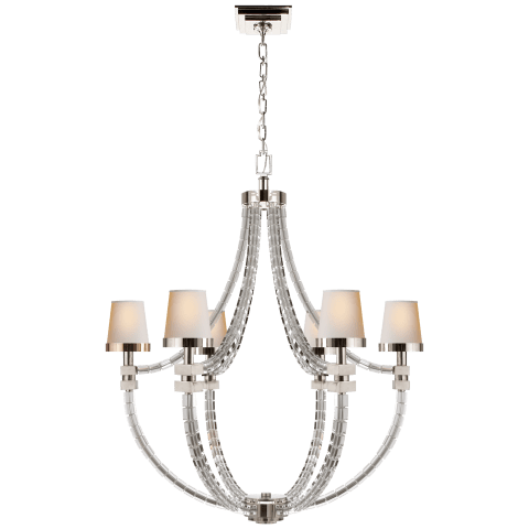 Crystal Cube Basket Chandelier in Antique Burnished Brass with Natural Paper Shades