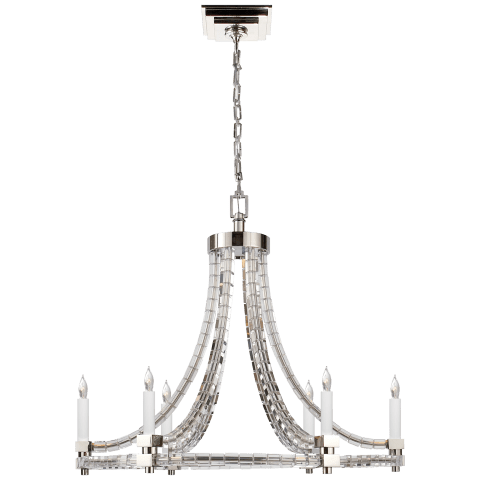 Crystal Cube Round Flatline Chandelier in Polished Nickel