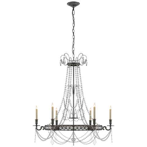 Belvoir Medium Chandelier in Antique-Burnished Brass with Crystal
