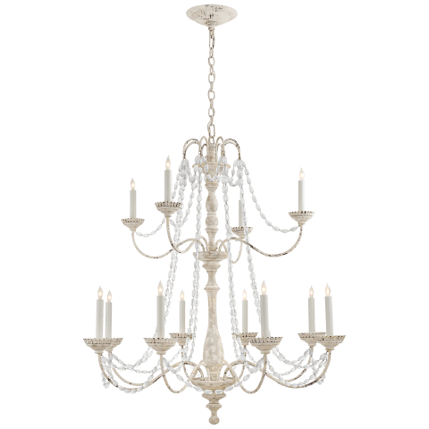 Flanders Medium Two-Tier Chandelier in Belgian White with Seeded Glass Trim