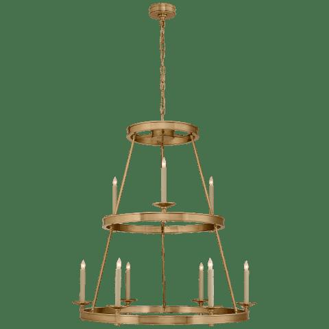 Launceton Medium Two Tier Chandelier in Antique- Burnished Brass