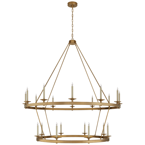 Launceton XXL Two Tiered Chandelier in Antique-Burnished Brass