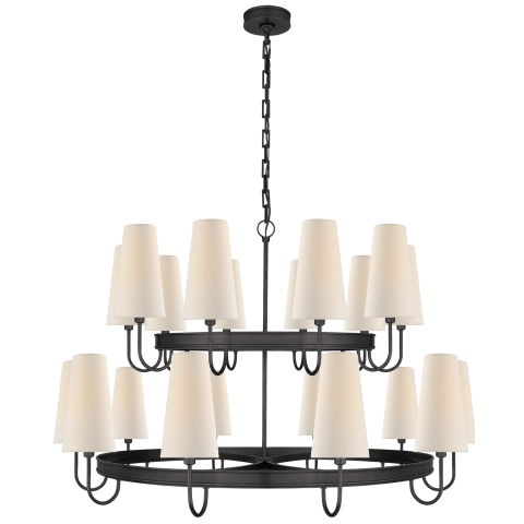 Venini Large Chandelier in Bronze with Linen Shades