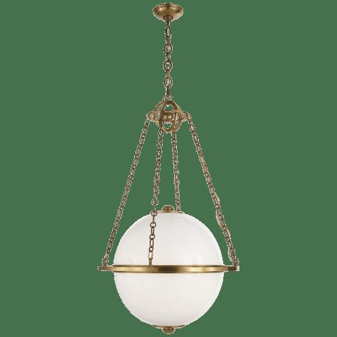 Modern Globe Lantern in Polished Nickel with White Glass