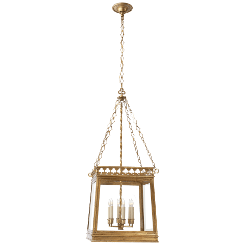 Clover Square Lantern in Gilded Iron