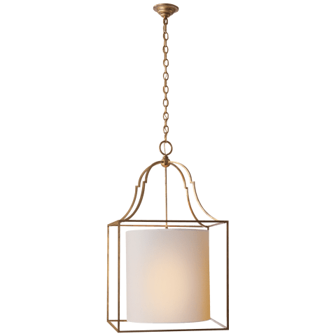 Gustavian Lantern in Gilded Iron with Natural Paper Shade