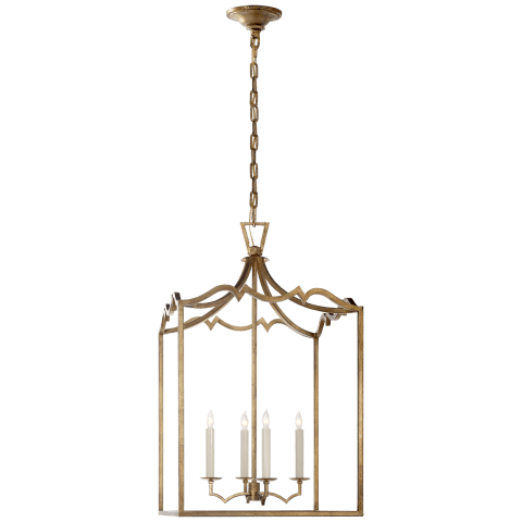 Darlana Medium Fancy Lantern in Gilded Iron