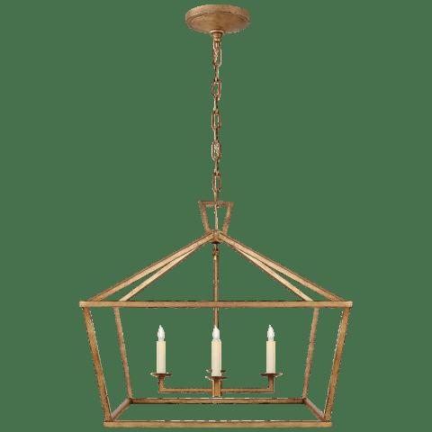Darlana Medium Wide Lantern in Gilded Iron