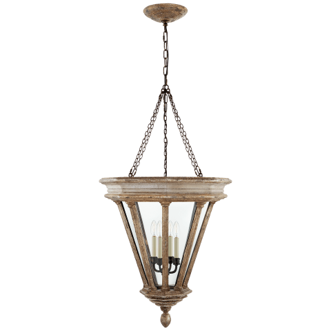 St. Germain Small Lantern in Weathered White and Gold with Clear Glass
