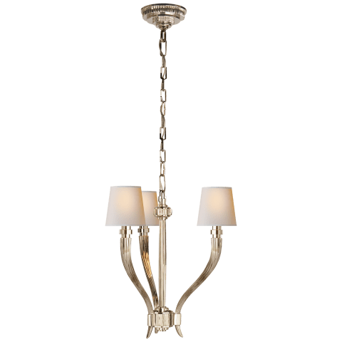 Ruhlmann Small Chandelier in Polished Nickel with Natural Paper Shades