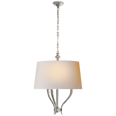 Ruhlmann Hanging Shade in Polished Nickel with Natural Paper Shade